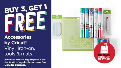 Buy 3, Get 1 FREE Accessories by Cricut®. Buy Online Pick Up In Store