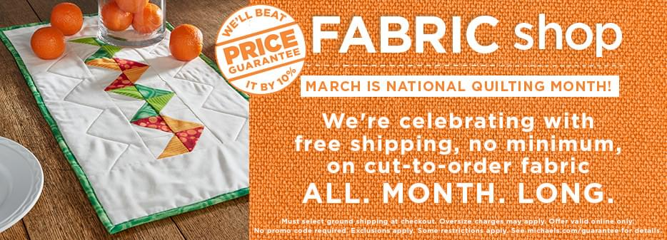 We're celebrating with free shipping, no minimum, on cut-to-order fabric ALL. MONTH. LONG.
