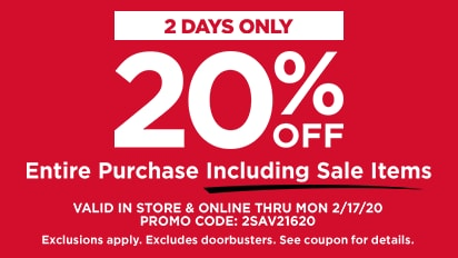 20% OFF Your Entire Purchase Including Sale Items