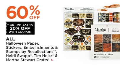 60% OFF + Get An Extra 20% OFF Halloween Paper, Stickers, Embellishments & Stamps by Recollections, Heidi Swapp, Tim Holtz & Martha Stewart Crafts