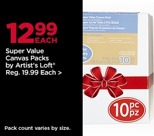 12.99 Each Super Value Canvas Packs by Artist's Loft