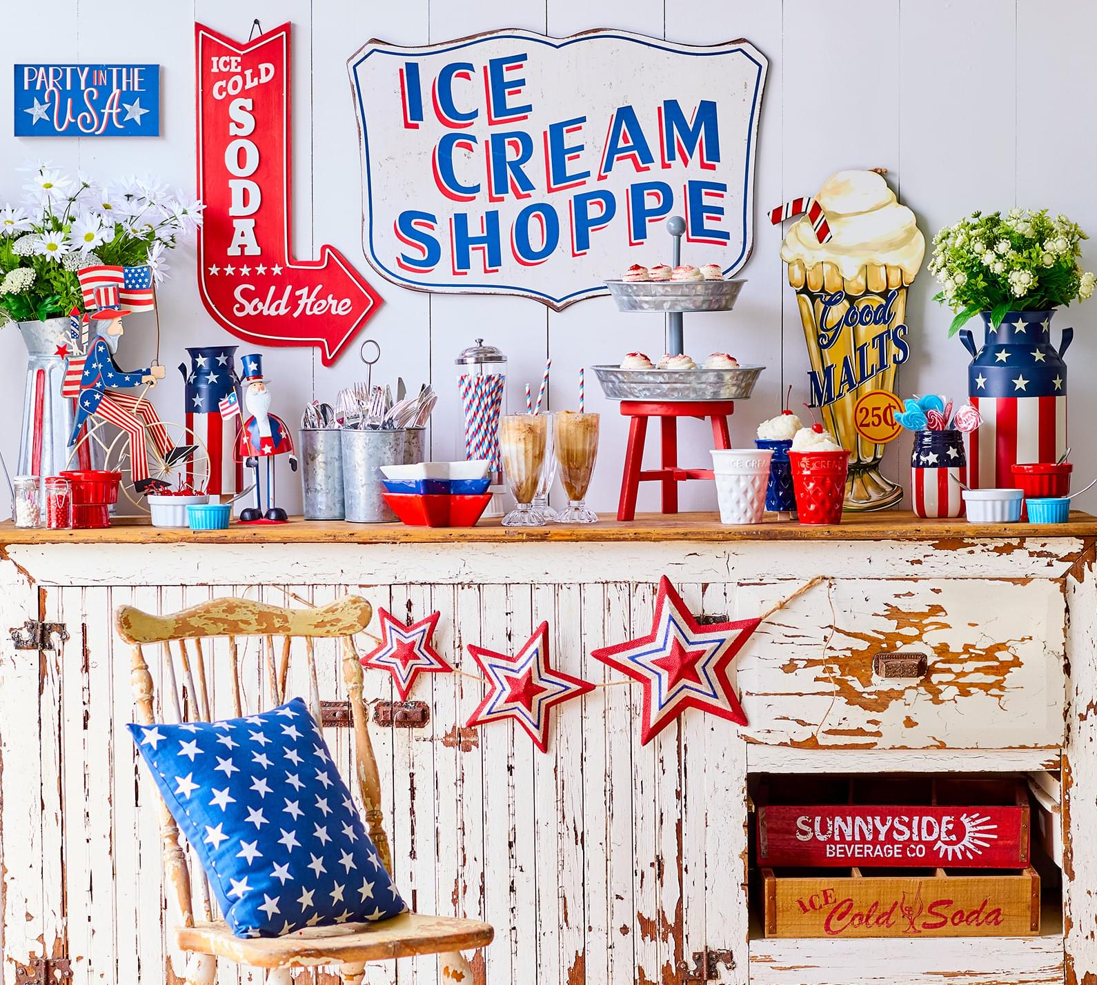 Red, white, & blue décor and accessories