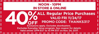 40% OFF Any One Regular Price Item 1pm- 10pm