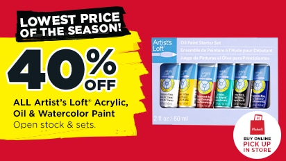 Lowest Prices of the Season! 40% OFF ALL Artist's Loft® Acrylic, Oil & Watercolor Paint