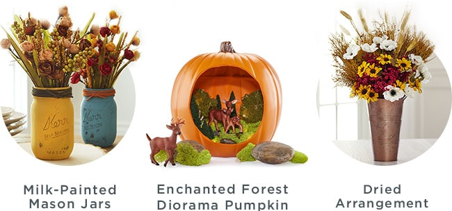 Milk-Painted Mason Jars, Enchanted Forest Diorama Pumpkin, Dried Arrangement