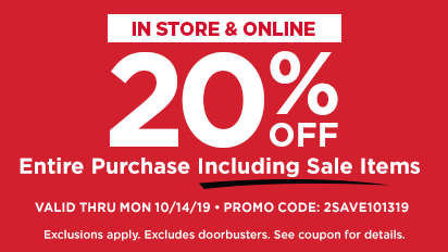 20% OFF Entire Purchase Including Sale Items