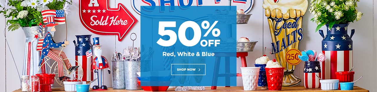 50% OFF Red, White & Blue