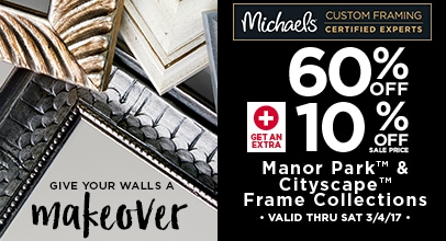 60% Off + 10% Off Manor Park & Cityscape Frame Collections