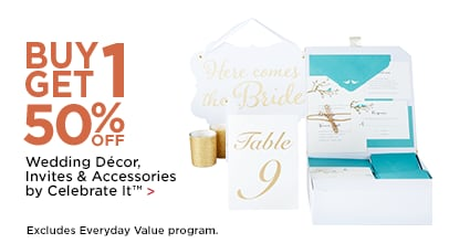 Buy 1 Get 1 50% OFF Wedding Decor, Invites & Accessories by Celebrate It