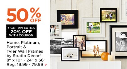 50% OFF + Get An Extra 20% OFF Home, Platinum, Portrait & Tyler Wall Frames by Studio Décor