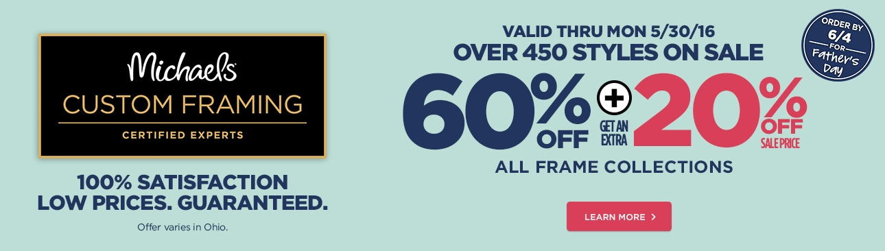 60% Off + 20% Off All Frame Collections (Last Day to Ship for Father's Day is 6/4)
