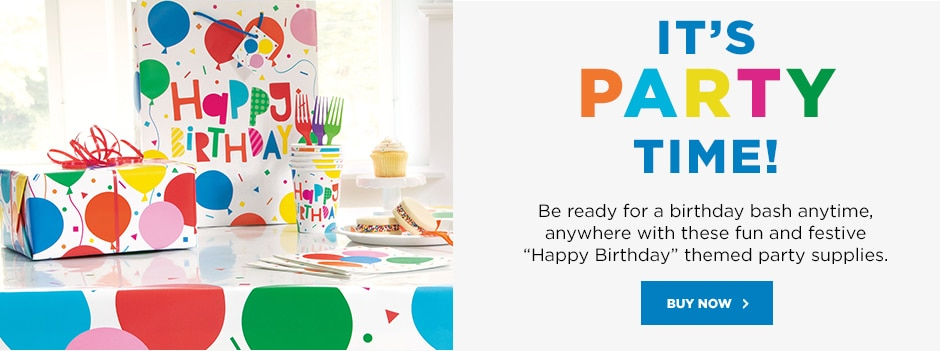 "It's party time! Be ready for a birthday bash anytime, anywhere with these fun and festive ""Happy Birthday"" themed party supplies. Buy now"