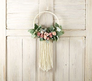Floral and Yarn Wreath