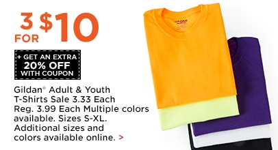 3 for $10 + Get An Extra 20% OFF Gildan Adult & Youth T-Shirts
