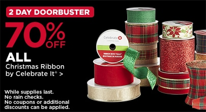 2 Day DoorBusters 70% OFF All Christmas Ribbon By Celebrate It