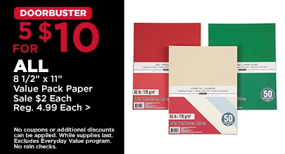 DOORBUSTER 5 for $10 ALL 8 1/2 x 11 Value Pack Paper