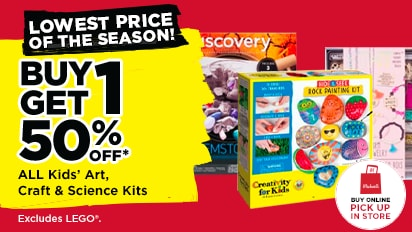 Lowest Prices of the Season! Buy One Get One 50% OFF ALL Kids' Art, Craft & Science Kits