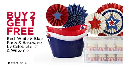 Buy 2 Get 1 Free Red, White & Blue Party & Bakeware by Celebrate it® & Wilton