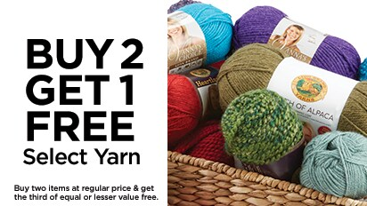 Buy Two, Get One Free All Loop & Threads®, Lion Brand® and Red Heart® Loop-It™ Yarn