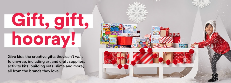 Gift, gift hooray! Give kids the creative gifts they can't wait to unwrap, including art and craft supplies, activity kits, bui;ding sets, slime and more, all from the brands they love.