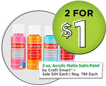 2 oz. Acrylic Matte Satin Paint by Craft Smart - 2 for $1