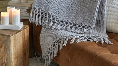 Featured Project: Red Heart® Cozy Time Fringe Throw