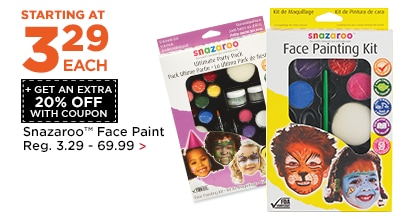 Starting at 3.29 + Get an Extra 20% Off Snazaroo Face Paint