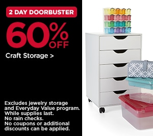 2 Day DoorBusters 60% OFF Crafts Storage
