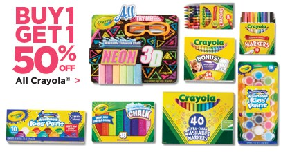 Buy One Get One 50% Off All Crayola