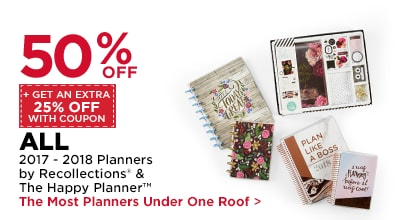 50% OFF + Get An Extra 25% Off With Coupon ALL 2017 - 2018 Planners by Recollections & The Happy Planner