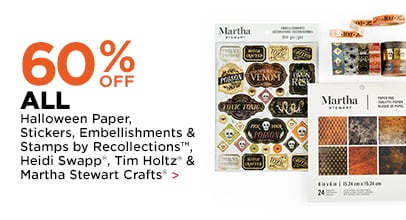 60% OFF Halloween Paper, Stickers, Embellishments & Stamps by Recollections, Heidi Swapp, Tim Holtz & Martha Stewart Crafts