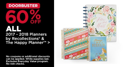 DOORBUSTER 60% OFF ALL 2017 - 2018 Planners by Recollections & The Happy Planner