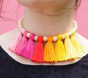 Bright and Neutral Tassel Collar Necklace