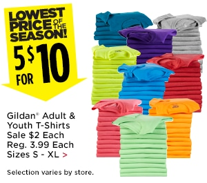 5 for $10 Gildan Adult & Youth T-Shirts