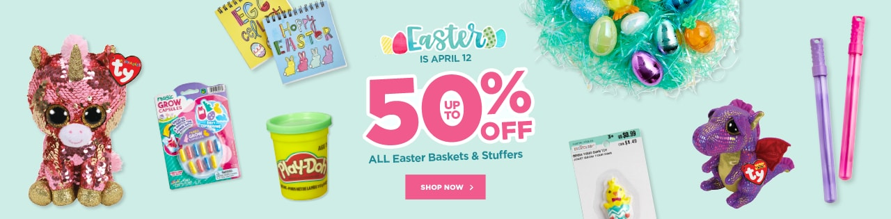 Easter is April 12th! Up to 50% OFF ALL Easter Baskets & Stuffers