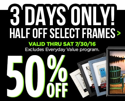 50% Off Entire Stock Frames