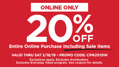20% OFF Your Entire Online or Buy Online Pick Up In Store Purchase Including Sale Items