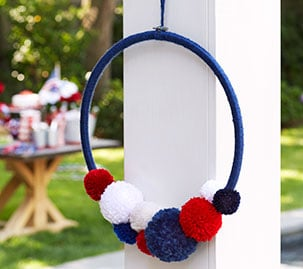 Red, White, And Blue Pom Pom Wreath