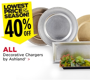 40% off All Decorative Chargers by Ashland