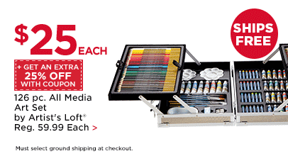$25 Each + Get An Extra 25% Off With Coupon 126 pc. All Media Art Set by Artist's Loft