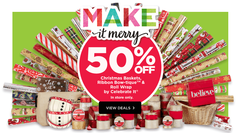 50% Off All Christmas Baskets, Ribbbon Bow-tique & Roll Wrap