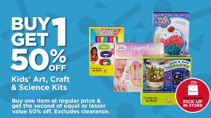 Buy One, Get One 50% OFF Kids' Art, Craft & Science Kits. Buy Online Pick Up In-Store
