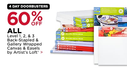 60% Off Level 1, 2 & 3 Back-Stapled & Gallery Wrapped Canvas and Easels by Artist's Loft