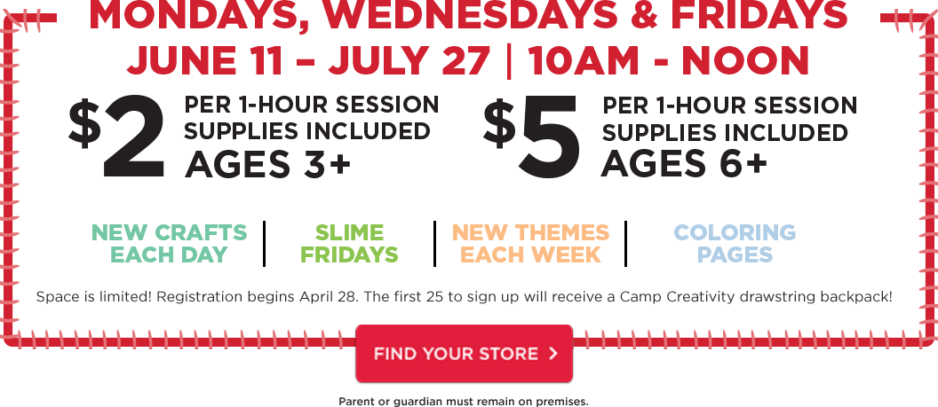 Monday. Wednesday. Friday. June 11 through July 27. 10AM - Noon.