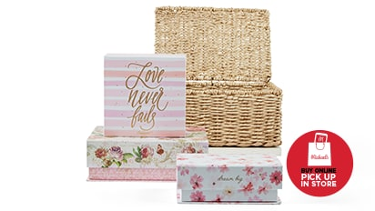 50% OFF ALL Baskets & Decorative Boxes.