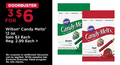 DOORBUSTER 3 for $6 Wilton Candy Melts 12 ounce
