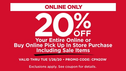20% OFF YOUR ENTIRE ONLINE OR BUY ONLINE PICK UP IN STORE PURCHASE INCLUDING SALE ITEMS. VALID ONLINE ONLY THRU TUE 1/28/20. PROMO CODE: CPN20W
