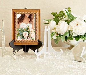 8 Decorative Plate Stand Holder Plastic Picture Easel Display Frame White Gold