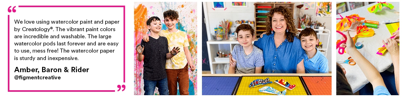 """""""We love using watercolor paint and paper by Creatology®. The vibrant paint colors are incredible and washable. The large watercolor pods last forever and are easy to use, mess free! The watercolor paper is sturdy and inexpensive."""" - Amber, Baron & Rider"""
