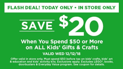 Spend $50, Get $20 on Select Kids Gifts & Crafts